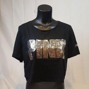 VS PINK Shirt  BLING Crop Top Tee NWT